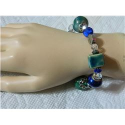 "BRACELET - WITH DOVE, CROSS & ""BELIEVE""  - GREEN & BLUE BEADS"