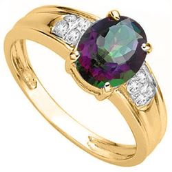 RING - 1.67 CARAT OVAL FACETED MYSTIC TOPAZ & 8 GENUINE DIAMONDS IN 925 STERLING SILVER SETTING - SZ