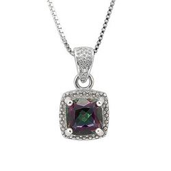 "NECKLACE - 1 CARAT MYSTIC GEMSTONE & 2 DIAMOND IN 925 STERLING SILVER SETTING - INCLUDES 20"" 18K WHI"