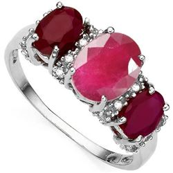 *RING - 2.54 CTW OVAL FACETED GENUINE RUBY & 16 DIAMONDS IN 925 STERLING SILVER SETTING - SZ 7 - INC