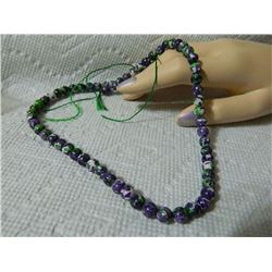 GEMSTONE BEADS - PURPLE JADE 6.7 mm - 62pc