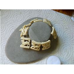 ANIMAL CARVED  BRACELET - IVORY / BONE - as-is