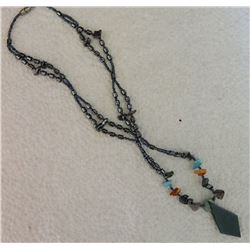 NECKLACE - BLACK ONYX & AGATE GEMSTONES