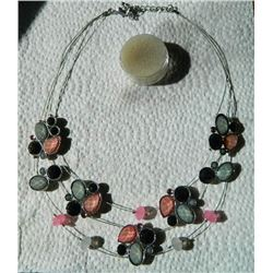 NECKLACE - FLOATING GEMSTONES - FLOWERS