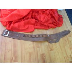 LEATHER HAND TOOLED GUN BELT - LIGHT COLOR NO GUN POCKET