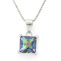 "NECKLACE - 7/8 CARAT OCEAN MYSTIC GEMSTONE IN 925 STERLING SILVER SETTING - INCLUDES 20"" WHITE GOLD"