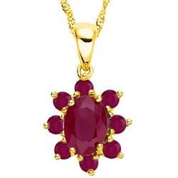 *PENDANT - 1.27 CTW (9 PCS) GENUINE RUBY IN YELLOW GOLD OVER 925 STERLING SILVER SETTING - INCLUDES