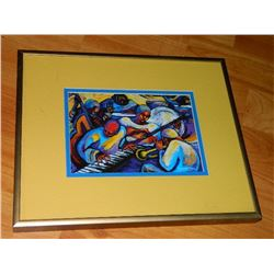 FRAMED PRINT - MARGARET SLADE KELLY - PLAYING FOR TIPS SERIES