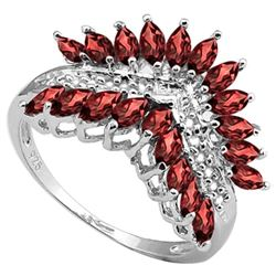 RING - 2.74 CARAT (20 PCS) CREATED GARNET & (12 PCS) DIAMOND IN 925 STERLING SILVER SETTING - SZ 7 -