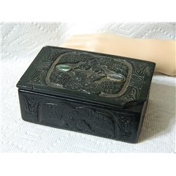 "TRINKET BOX - ABALONE EYES - FIRST NATIONS CARVING CORNER DAMAGED ON LID - 5"" x 3"" x 2"" tal with lid"