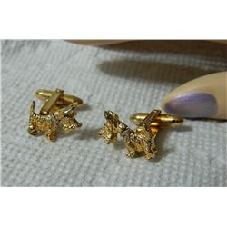 CUFFLINKS - STERLING - TERRIER - HEAD MOVES - 2 TL 8.3gm