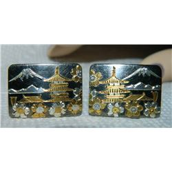 CUFFLINKS - BAGODA/ MOUNTAIN SCENE - GOLD & SILVER