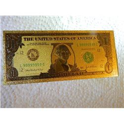 GOLD FOIL BILL - 24K SOLID GOLD - USA $1 - not legal tender