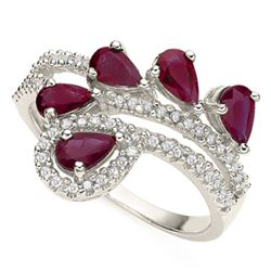**** FEATURE ITEM**** RING - 1.26 CTW GENUINE PEAR FACETED RUBY(5) & 55 DIAMONDS IN 925 STERLING SIL