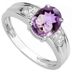 RING - 1.604 CARAT TW AMETHYST & GENUINE DIAMOND IN PLATINUM OVER 0.925 STERLING SILVER SETTING -  S