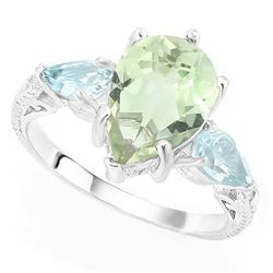 RING - 3 CARAT GREEN AMETHYST & 1 1/5 CARAT BABY SWISS BLUE TOPAZ 925 STERLING SILVER RING sz 7 - RE
