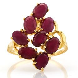 *RING - 4.30 CTW OVAL FACETED GENUINE RUBY(8) IN YELLOW GOLD OVER 925 STERLING SILVER DESIGNED SETTI