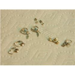 ASSORTED EARRINGS - some may be silver - 5 SETS TTL
