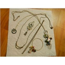 ASSORTED NECKLACES - PENDANTS & CHAINS - some may be silver - 6 TTL