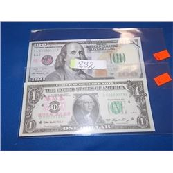 BILLS - 2 TTL - $100 USA & $1 USA - NOT LEGAL TENDAR