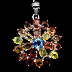 Natural  Fancy Color Sapphire Flower Pendant