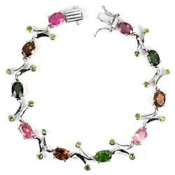 NATURAL FANCY TOURMALINE & TSAVORITE GARNET BRACELET