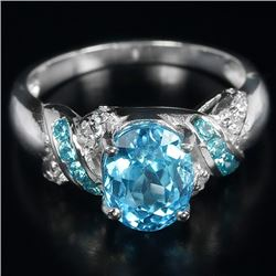 Natural Swiss Blue Topaz Ring