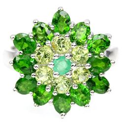 NATURAL GREEN EMERALD PERIDOT CHROME DIOPSIDE Ring