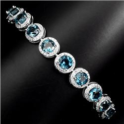 Natural Stunning  London Blue Topaz Bracelet