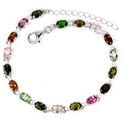 Natural Fancy Tourmaline & Chrome Dioposide Bracelet