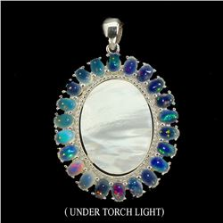 Natural Opal & Mother of Pearl 31.86 Ct Pendant