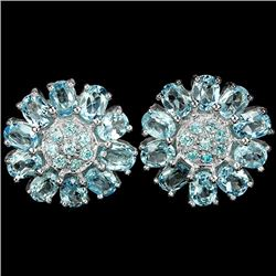 Natural SWISS BLUE TOPAZ FLOWER EARRING