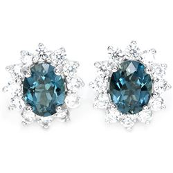 Natural London Blue Topaz 8x6 MM Earrings