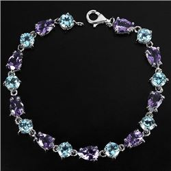 NATURAL PURPLE AMETHYST & SKY BLUE TOPAZ BRACELET