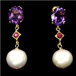 Natural Ruby Amethyst & Japanese Pearl Earings
