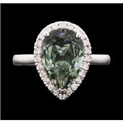 14KT White Gold 3.51 ctw Green Tourmaline and Diamond Ring