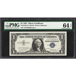 1957 $1 Silver Certificate Note Fr.1619 PMG Choice Uncirculated 64