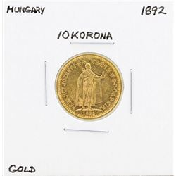 1892 Hungary 10 Korona Gold Coin