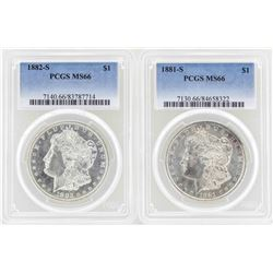 1881-S to 1882-S $1 Morgan Silver Dollar Coins PCGS MS66