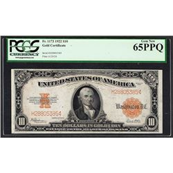 1922 $10 Gold Certificate Note Fr.1173 PCGS Gem New 65PPQ