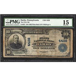 1902 $10 The First National Bank of Darby CH# 627 PMG Choice Fine 15