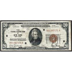 1929 $20 Federal Reserve Bank of New York New York Note