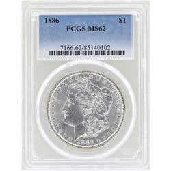 1886 $1 Morgan Silver Dollar Coin NGC MS62