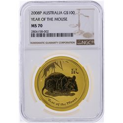 2008P $100 Australia Year of the Mouse Gold Coin NGC MS70