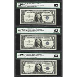 (3) Consecutive 1957 $1 Silver Certificate Notes Fr.1619 PMG Choice Uncirculated