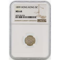 1899 Hong Kong 5 Cents Silver Coin NGC MS64