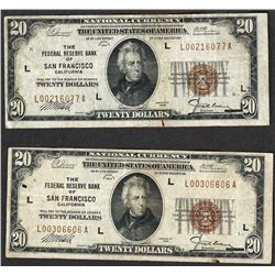 Lot of (2) 1929 $20 The Federal Reserve Bank of San Francisco Notes