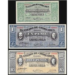 Lot of (3) Miscelaneous El Estado De Chihuahua Mexico Notes