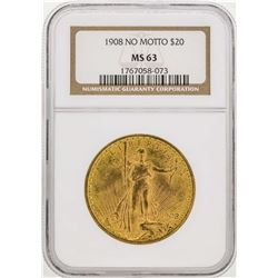 1908 No Motto $20 Saint Gaudens Double Eagle Gold Coin NGC MS63
