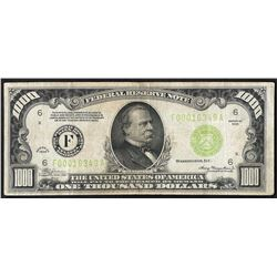 1934 $1,000 Federal Reserve Note Atlanta Light Green Seal
